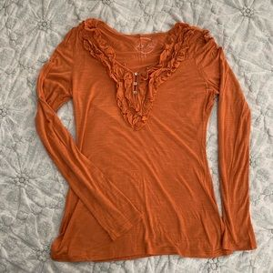 INC Long-sleeve Tee with Ruffle, Size M (NWOT)